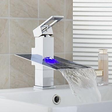 Modern/kortárs Mosdókagyló Vízesés Kerámiaszelep Egy fogantyú egy lyukkal Króm, Fürdőszoba mosogató csaptelep