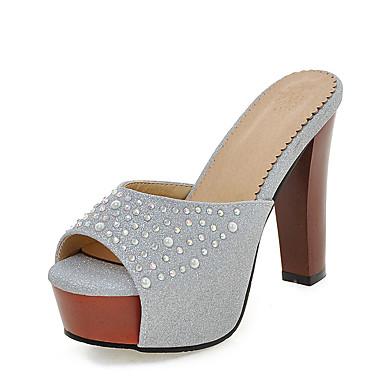 Damen Schuhe Kunstleder Sommer Fersenriemen Slippers & Flip-Flops Spulen Absatz / Blockabsatz Offene Spitze Strass für Kleid Schwarz /