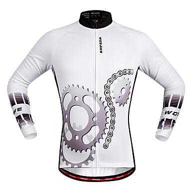 WOSAWE Unisexe Manches Longues Maillot de Cyclisme - Blanc Equipement Cyclisme Maillot Hauts / Top Séchage rapide Des sports Polyester VTT Vélo tout terrain Vélo Route Vêtement Tenue / Elastique