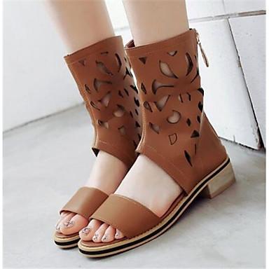 Damen Schuhe Nubukleder PU Sommer Komfort Sandalen Für Normal Schwarz Beige Braun