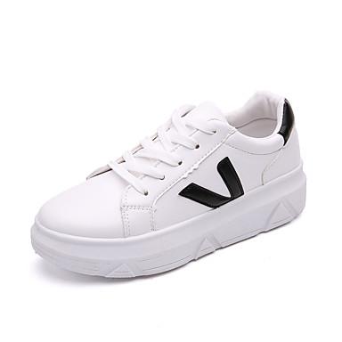 Damen Schuhe TPU Frühling Herbst Komfort Leuchtende Sohlen Sneakers Walking Flacher Absatz Runde Zehe Schnürsenkel für Normal Schwarz Rot