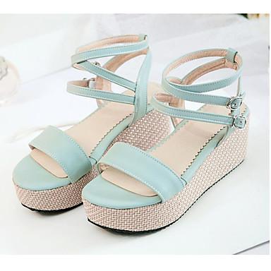 Damen Schuhe PU Sommer Komfort High Heels Für Normal Weiß Blau Leicht Rosa