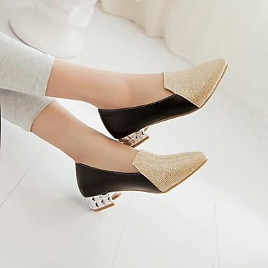 Damen Schuhe PU Frühling Herbst Komfort High Heels Niedriger Absatz Spitze Zehe Für Normal Gold Schwarz Silber