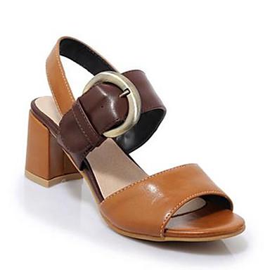 Damen Schuhe PU Frühling Sommer Komfort Sandalen Blockabsatz Peep Toe Für Normal Schwarz Gelb Grün