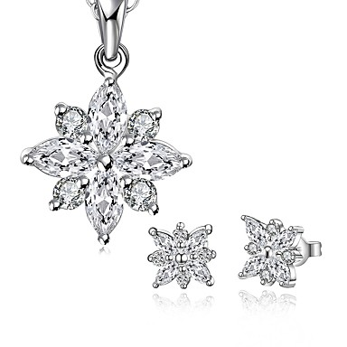 Women's Cubic Zirconia Jewelry Set - Zircon, Silver Plated Flower Fashion Include Drop Earrings / Necklace Silver For Wedding / Daily / Casual