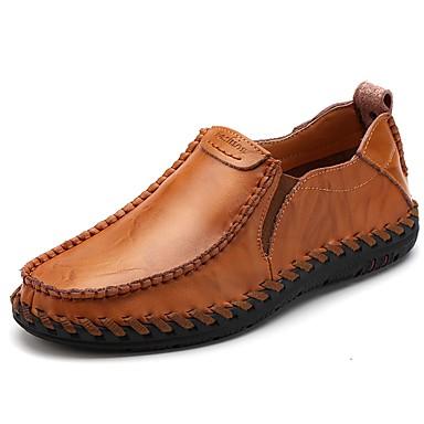 Férfi cipő PU Tavasz Ősz Kényelmes Papucsok & Balerinacipők Ráncolt mert Hétköznapi Fekete Bor Világosbarna