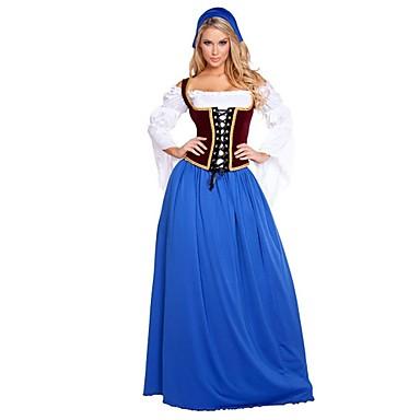 Kasım Festivali üstü dar altı geniş elbise Trachtenkleider Kadın's Elbise Başlık Daha Fazla Aksesuarlar Bavyera Kostüm Mavi
