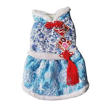 Hund Kleider Hundekleidung Lässig/Alltäglich Bestickt Fuchsia Blau Hellblau Kostüm Für Haustiere