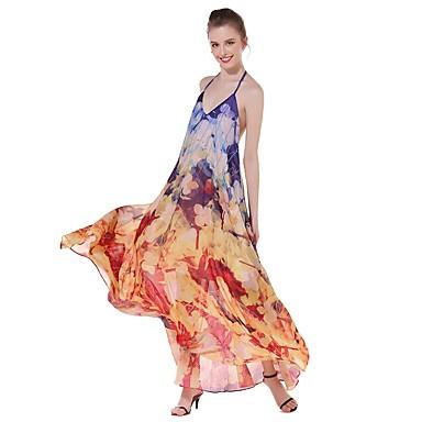 Damen A-Linie Kleid-Ausgehen Lässig/Alltäglich Einfach Street Schick Druck V-Ausschnitt Maxi Ärmellos Baumwolle Sommer HerbstMittlere