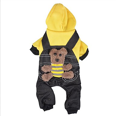 Dog Hoodie / Jumpsuit Dog Clothes Bear Yellow / Red Cotton Costume For Pets Men's / Women's Casual / Daily