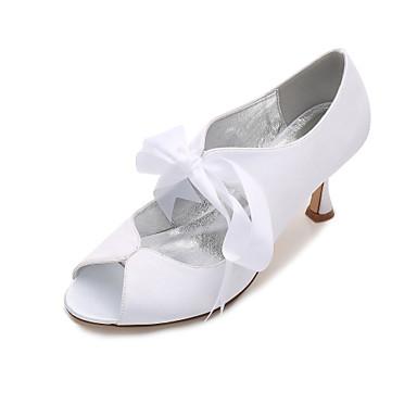 e7c99b1656c Dámské Satén Jaro   Léto Pohodlné   Lodičky Svatební obuv Nízký tenký    Nízký podpatek