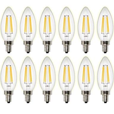 billige Elpærer-12 Stk. 4W 400 lm LED-glødepærer C35 4 leds COB Mulighet for demping Dekorativ Varm hvit AC 220-240 AC 110-130 V