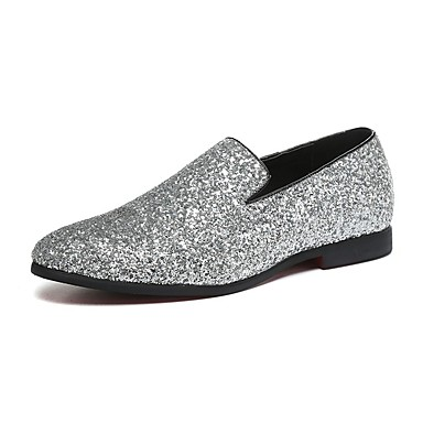 cheap Men's Silver Loafers-Men's Novelty Shoes Paillette / Leather / Glitter Spring / Fall Comfort Loafers & Slip-Ons Walking Shoes Gold / Silver / Wedding / Party & Evening