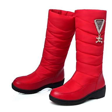 Damen Schuhe PU Winter Komfort Stiefel Für Normal Rot Blau