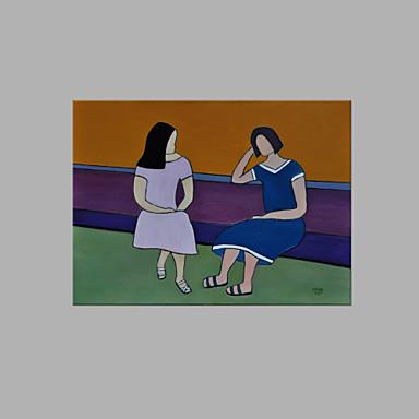 Hang festett olajfestmény Kézzel festett - Emberek Művészi Vászon / Nyújtott vászon