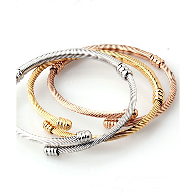 Men's Women's Bracelet Bangles Cuff Bracelet - Titanium Steel Classic, Simple Style, Fashion, Open Bracelet Jewelry Gold For Wedding Birthday Daily Casual Going out
