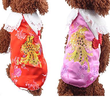 Hund Weste Hundekleidung Blumen / Pflanzen Rot Rosa Baumwolle Kostüm Für Haustiere Neujahr
