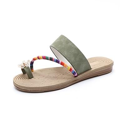 Damen Slippers & Flip-Flops Komfort PU Sommer Normal Walking Blume Flacher Absatz Beige Braun Grün 5 - 7 cm
