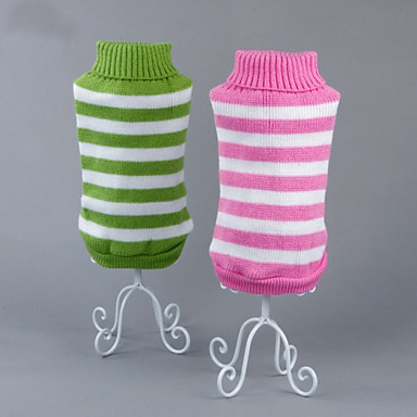 Cat Dog Sweater Dog Clothes Casual/Daily Stripe Green Blue Pink Costume For Pets