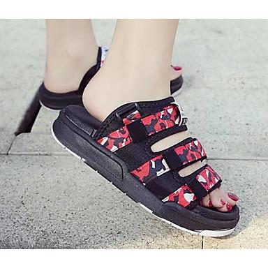 Damen Sandalen Komfort Sommer Stoff Normal Schwarz Grau Rot Flach