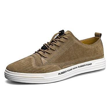 Herrn Schuhe Leder Sommer Herbst Komfort Sneakers Walking Kombination für Normal Schwarz Grau Khaki