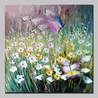 Hang festett olajfestmény Kézzel festett - Virágos / Botanikus Absztrakt Modern Vászon