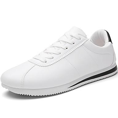 Férfi cipő PU Tavasz Ősz Kényelmes Sportcipők Gyalogló Fűző mert Sport Fekete Piros Fekete/fehér Piros/Fehér
