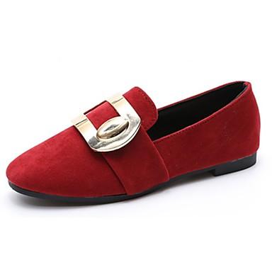 Damen Loafers & Slip-Ons Komfort Herbst Stoff Walking Flacher Absatz Schwarz Rot Dunkelbraun Unter 2,5 cm
