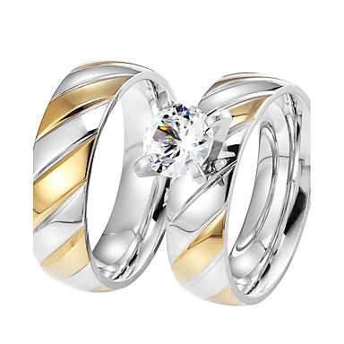 Páros Kocka cirkónia Páros gyűrűk - Circle Shape Vintage / elegáns / Divat Titán Gyűrű Kompatibilitás Esküvő / Eljegyzés / Napi