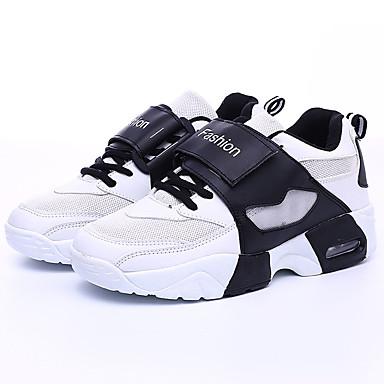 Damen Schuhe PU Frühling Herbst Komfort Sportschuhe Rennen Flacher Absatz Runde Zehe Schnürsenkel für Sportlich Normal Draussen Weiß
