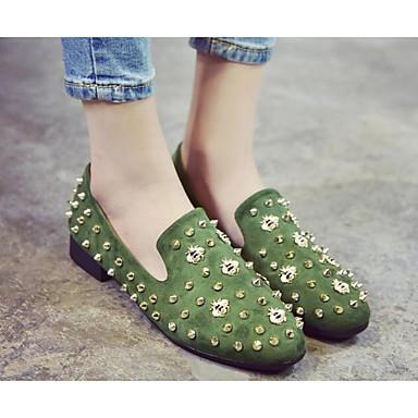 Damen Schuhe Echtes Leder PU Frühling Sommer Komfort Flache Schuhe Für Normal Schwarz Grau Grün
