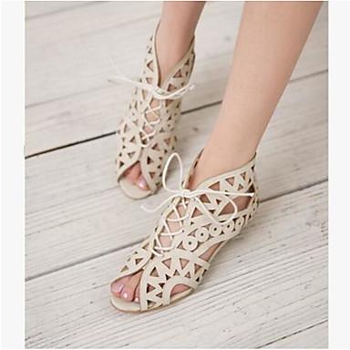 Damen Schuhe PU Sommer Komfort Sandalen Für Normal Weiß Schwarz Gelb