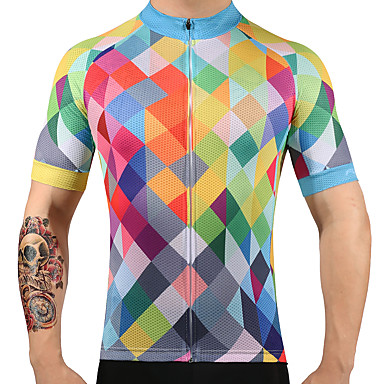 FUALRNY® Men's Short Sleeve Cycling Jersey Plaid Argyle Bike Jersey Top, Quick Dry 100% Polyester / High Elasticity