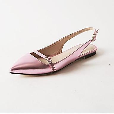 Damen Schuhe PU Sommer Komfort High Heels Niedriger Absatz Spitze Zehe Für Normal Schwarz Purpur