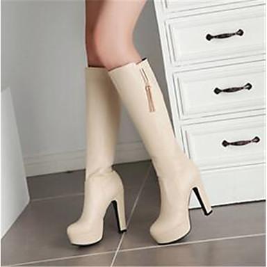 Damen Schuhe PU Herbst Komfort Stiefel Weiß / Schwarz / Mandelfarben