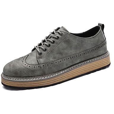Férfi cipő PU Tavasz Ősz Könnyű talpak Félcipők Fűző mert Hétköznapi Fekete Szürke
