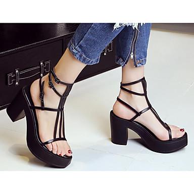 Damen High Heels Pumps Echtes Leder PU Frühling Sommer Normal Schwarz Beige 10 - 12 cm