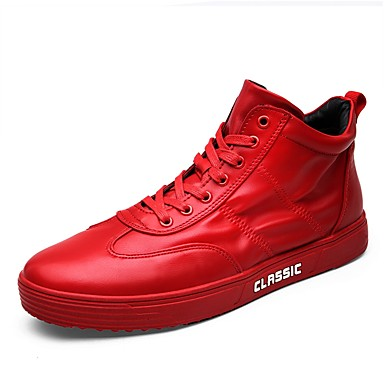 Men's Light Soles Leather Spring / Fall Sneakers White / Black / Red
