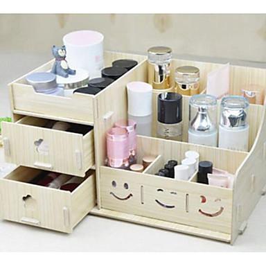 1 قطعة الخشب بسيطة النمط الأوروبي الكورية مستحضرات التجميل مربع التخزين