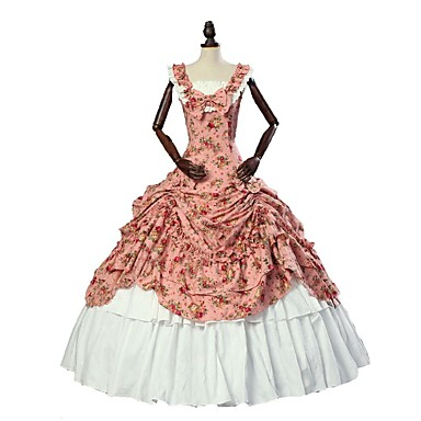 Victorian Rococo Costume Women's Dress Skirt Vintage Cosplay Linen&Cotton Blend Sleeveless Ankle Length