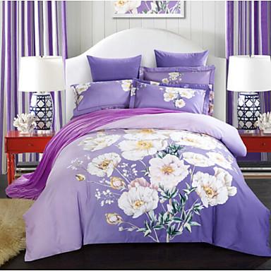 Blume Polyester / Baumwolle Druck Polyester / Baumwolle 4-teilig (1 Bettbezug, 1 Bettlaken, 2 Kissenbezüge)