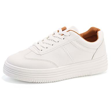 Damen Schuhe PU Frühling Herbst Leuchtende Sohlen Flache Schuhe Walking Flacher Absatz Runde Zehe Schnürsenkel für Normal Draussen Weiß