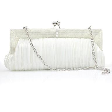 Női Táskák Szatén Vállon átvetős táska Gyöngydíszítés / Glitter / Pom Pom mert Party Fehér / Fekete / Ibolya