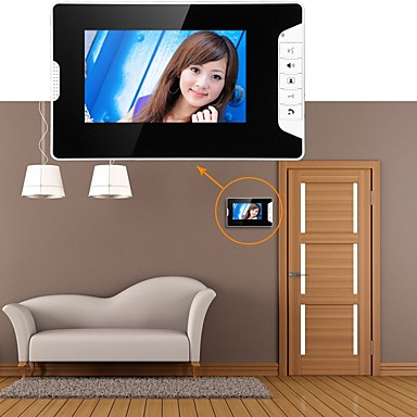 billige Sikkerhet og overvåkning-Mountainone 7 tommers video dør telefon dørklokk intercom system kit 1-kamera 3-skjermer nattesyn