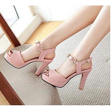 Damen Schuhe PU Sommer Komfort High Heels Für Normal Weiß Schwarz Beige Blau Leicht Rosa