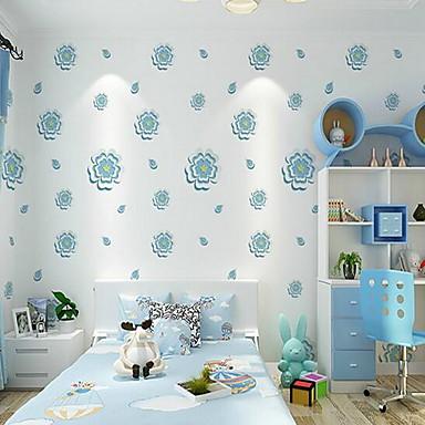 Blumen 3D Tapete Für Privatanwender Zeitgenössisch Wandverkleidung , PVC/Vinyl Stoff Selbstklebend Tapete , Zimmerwandbespannung