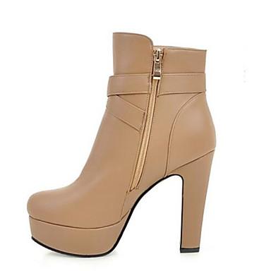Damen Schuhe PU Herbst Winter Komfort High Heels Für Normal Weiß Mandelfarben