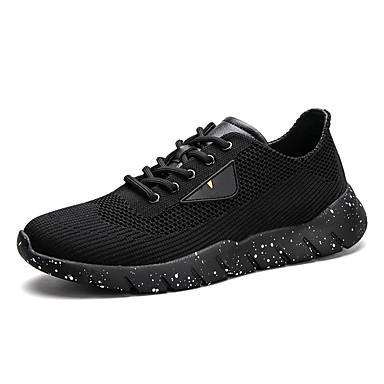 Férfi cipő PU Tüll Tél Ősz Kényelmes Sportcipők Futócipő Fűző mert Sport Hétköznapi Szabadtéri Fekete Fekete/Vörös