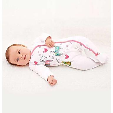 Baby Girls' Animal One-Pieces, 100% Cotton Spring/Fall Cartoon Long Sleeves White Blushing Pink Gray