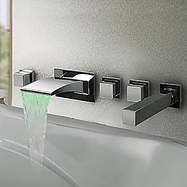 Bathtub Faucet - Contemporary Modern Style LED Chrome Wall Mounted Brass Valve